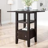 Red Barrel Studio® Counter Height Wooden Kitchen Table w/ Storage Cabinets & Shelves Wood in Black, Size 36.0 H x 31.5 W x 31.5 D in | Wayfair