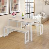 Ebern Designs 3 Piece Dining Set w/ Two Benches Wood/Metal in White, Size 28.8 H x 28.75 W x 47.0 D in | Wayfair C3D78659D11F45D1BA585EEF341D19EF