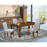 Lark Manor™ Flippen Rubber Solid Wood Dining Set Wood/Upholstered Chairs in Brown, Size 30.0 H in | Wayfair 892A3C8AF88645EABEF389D520C8E59E