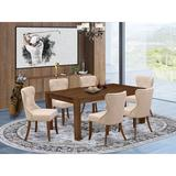 Lark Manor™ Flippen Folden Rubber Solid Wood Dining Set Wood/Upholstered Chairs in Brown, Size 30.0 H in   Wayfair F60ED5AC3380415B8F2A5A2A685F9DC0