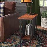 Lark Manor™ Evie End Table Wood/Metal in Brown, Size 24.0 H x 12.0 W x 24.0 D in | Wayfair CC213800CB734E6AAB94B5CFD0293BF6