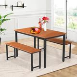 Ebern Designs 3 Pieces Farmhouse Kitchen Table Set w/ Two Benches Wood/Metal in Black/Brown, Size 28.7 H x 28.7 W x 47.2 D in | Wayfair