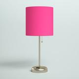 """Zipcode Design™ Zainab 19.5"""" Brushed Steel Table Lamp w/ Outlet Metal/Fabric in Pink, Size 19.5 H x 8.5 W x 8.5 D in   Wayfair"""