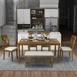 Red Barrel Studio® 6-Piece Kitchen Dining Table Set Wooden Rectangular 4 Dining Chair Dining Wood/Upholstered Chairs in Brown | Wayfair