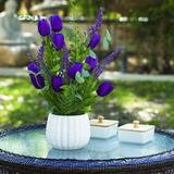 Primrue Artificial Lavender Flower In White Ceramic Pot Silk in Indigo, Size 14.0 H x 8.0 W x 8.0 D in | Wayfair 938EFEB78B914BCDA1FB61BA82136F68