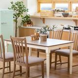 August Grove® Modern Extending Dining Table 4Pcs Chair Set Solid Wood Table Working/Dining Table Wood/Upholstered Chairs in Brown/Gray/White Wayfair