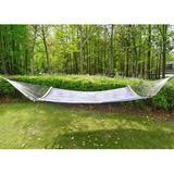 Longshore Tides 14 FT Quick Dry Hammock Folding Curved Bamboo Spreader Bar Portable Hammock For Camping Outdoor Patio Yard Stripes in Blue   Wayfair