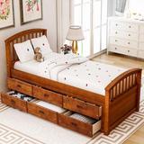 Harriet Bee Zellig Twin Size Platform Storage Bed Solid Wood Bed w/ 6 Drawers Wood in Brown, Size 42.2 W x 78.97 D in   Wayfair