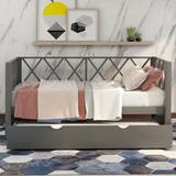 Gracie Oaks Twin Size Daybed w/ Woodensofa Bed Trundle,X-Shaped Back Design,For Bedroom/Living Room(White) Wood in Gray | Wayfair