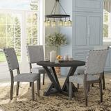 Gracie Oaks Bateson 5 Piece Dining Set Wood/Upholstered Chairs in Brown/Gray, Size 30.0 H in | Wayfair B8D9C472D65E4F8C8169D661B0210680