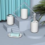 Brayden Studio® 4 Pcs Plastic Bathroom Accessory Set,Bath Toilet Brush Accessories Set w/ Toothbrush Holder,Toothbrush Cup,Soap Dispenser in White