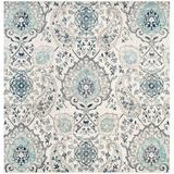 Mistana™ Christa Damask Cream/Light Gray Area Rug in Brown/Gray/White, Size 0.37 D in   Wayfair F1E1858702074165AD1BD8CFD1FE33AD