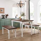 Ophelia & Co. 3-Piece Retro Farmhouse Kitchen Dining Table Set Breakfast Nook w/ 2 Benches, Cherry & White Wood in Brown/White | Wayfair
