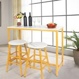 Mercer41 Bar Table Set w/ 2 Bar Stools,Counter Height Pub Table Kit Wooden Kitchen Dining Table w/ Marble Top & Gold Metal Leg For Breakfast Wayfair