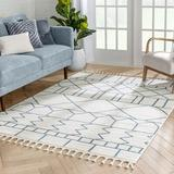 Well Woven Serenity Schematica Tribal Geometric Pattern Ivory Blue Area Rug, Size 87.0 H x 27.0 W x 0.4 D in | Wayfair SE-272-2