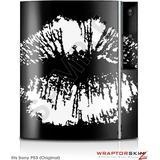 Sony PS3 Skin Big Kiss Lips White on Black