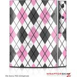Sony PS3 Skin Argyle Pink and Gray