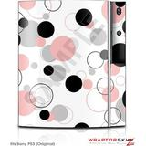 Sony PS3 Skin Lots of Dots Pink on White