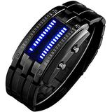 PASOY Mens Binary Watch Blue LED Digital Watches Square Dial Black Casual Womens Black Wrist Watches (Black)