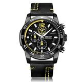 MEGIR Men's Analog Business Quartz Chronograph Watch with Fashion Big Face Leather Strap for Sports… (Black)