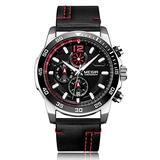 MEGIR Men's Analog Business Quartz Chronograph Watch with Fashion Big Face Leather Strap for Sports… (Silver)