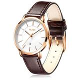 OLEVS Watches for Women Waterproof Wristwatches Analog Quartz Ultra Thin Dark-Brown Watches Leather Strap Watches with Date Calendar Watches,Gifts for Women