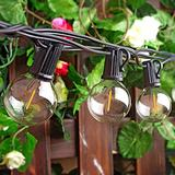 25Ft LED String Lights, G40 Outdoor Patio String Lights with 27 Shatterproof LED Clear Globe Bulbs, Indoor&Outdoor String Lights for Patio Garden Backyard Bistro Pergola Tents Gazebo Decor (Black)