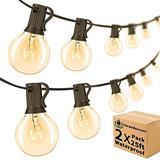 50FT 2PACK String Lights, 25FT Incandescent Outdoor String Lights + 25ft LED Outdoor String Lights Weatherproof Indoor/Outdoor String Lights, Black
