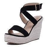 Huntarry Women Sexy Cross Ankle Strap Espadrille Wedge Platform Sandals Ladies Comfortable Slingback High Heel Casual Sandals Black