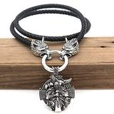Men Viking Odin Raven Cross Shield Necklace, Nordic 316L Stainless Steel Axe Celtic Knot Rune Pendant Amulet with Wolf Head Leather Rope Chain, Middle Ages Gothic Charm Jewelry,50CM