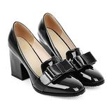 MOOMMO Women Chunky Heel Pumps Bowknot Patent Leather Loafers Round Closed Toe Sandals 3.5 Inch High Block Heel Slip On Summer Casual Office Dress Shoes Black Size 9.5