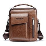 Maeau Men's Leather Shoulder Handbag Bag Crossbody Shoulder Leather Messenger Bags Handbag Satchel Travel Business Bag Brown 6