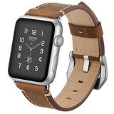 AdirMi Watch Straps for Apple Watch 123456/SE, Women & Men Classic Genuine Leather Watch Band with Stainless Silver Buckle, Compatible Apple Watch Straps 38mm/42mm Watch Straps,Brown,38mm