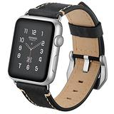 AdirMi Watch Straps for Apple Watch 123456/SE, Women & Men Classic Genuine Leather Watch Band with Stainless Silver Buckle, Compatible Apple Watch Straps 38mm/42mm Watch Straps,Black,42mm