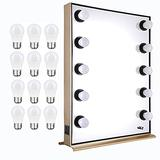 Byootique 26x20 Hollywood Makeup Vanity Mirror 10pcs Dimmer LED Lights with More 12Pcs Replacement LED Bulbs (Total 22Pcs Bulbs)