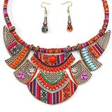 Fstrend Ethnic Chunky Choker Necklace Bib Colorful Torque Collar Necklaces with Earring Set Tribal Statement Necklace African Costume Jewelry for Women and Girls