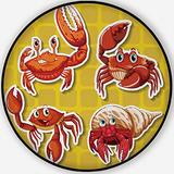 Stickers of Four Different Crabs on Yellow,Area Rug Non-Slip Backing Round Area Rug Living Room Bedroom Study Children Playroom Carpet Floor Mat 6'Round