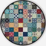 Floral Patchwork Tile Design.Moroccan Mediterranean Square Tiles,Rugs for Living Room Mosaic Ornaments.Tile Mosaic Non-Slip Backing Round Area Rug Bedroom Study Children Playroom Carpet Floor Mat 4'Ro