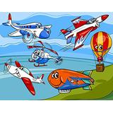 MEJAZING DIY 5D Diamond Painting by Number Kits,Airplane Cartoons Toy Planes Jets Helicopter and Hot Air Balloon Aircraft Ship Party Decorationswith Arts for Full Drill Canvas Picture(12x16inch)