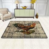 French Barn Wood Grain Western Country Farmhouse Rooster Area Rugs Pad for Bedroom Living Room Non-Slip Floor Mat Carpets Doormat Home Decor 36 x 24 in & 72 x 48 in