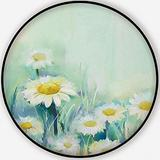 Oil Painting Daisy Flowers in Field.Hand Paint White Flowers Gerbera Daisy in Soft Color on Green - Blue Color.Spring Flower Seasonal Nature,Carpet/Rug Round Rug Non-Slip Backing Round Area Rug Bedroo