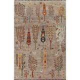 Vegetable Dye Animal Pictorial Floral Ziegler Area Rug Wool Hand-Knotted Carpet 6x8 (5' 8'' x 7' 9'')