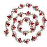 TOPINCN Flower Shaped Diamond Crystal Rhinestone Chain Bridal Applique Beaded Trim Chain Crystal Rhinestone Trim Chain for Clothing Necklace Ear-Drop Decoration(RED)