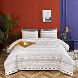 Wellboo Boho White Comforter Sets Twin Grey and White Geometric Bedding Sets Cotton Various Striped Beddings Women Men Adult Thin Lines Modern Folkloric Comforters Triangle Bedding Soft Health 3 PCS