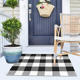 LHLJOYU Buffalo Plaid Rug Buffalo Check Area Rug Black and White Checkered Indoor Outdoor Rug Hand-Woven Front Porch Rug Washable Welcome Rugs (Plaid, 2' x 3')