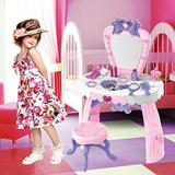 Orfilaa Children Vanity Set with Mirror, Pretend Play Vanity Set for Kids, Fantasy Vanity Beauty Dresser Table with Fashion & Makeup 23 pcs Accessories for Girls, Women (Pink)