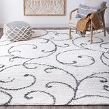 Benji White 9x12 Shag Rectangle Area Rug for Living, Bedroom, or Dining Room - Transitional, Floral