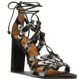 Coach Shoes | Coach Signature Black Link Lace-Up Heel Sandals | Color: Black/White | Size: 5.5