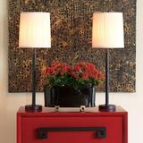 "Port 68 Lauderdale Black Buffet Lamp 33""H Set Of 2 Metal/Fabric in Black/Brown/White, Size 33.0 H x 11.0 W x 11.0 D in | Wayfair LPAM-127-09"
