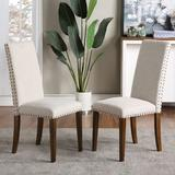 Alcott Hill® Upholstered Dining Chairs Furniture Fabric Dining Chairs w/ Nailhead Trim, Set Of 2Wood/Upholstered/Fabric in Brown   Wayfair
